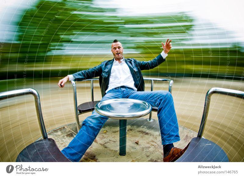 Drehwurm, 2. Runde Spielplatz Rad Spielen toben Verzerrung Freude Übermut Schwindelgefühl Karussell Kreisel kreisen Geschwindigkeit Bewegungsunschärfe jauchzen