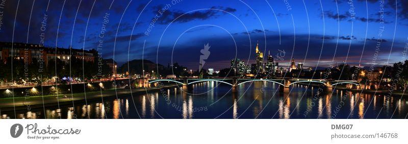 Panorama Skyline Frankfurt Lifestyle Sommer Winter Kapitalwirtschaft Geldinstitut Wasser Himmel Herbst Fluss Stadt Bankgebäude Flughafen Brücke Turm groß