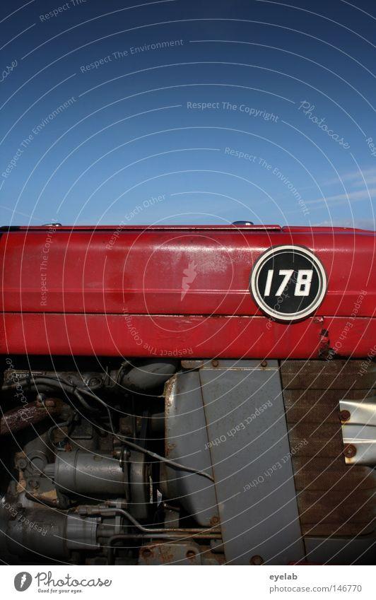 KRAFT 178 alt Himmel blau rot Wärme Kraft dreckig Design Industrie Kreis retro rund Schriftzeichen Ziffern & Zahlen Physik Landwirtschaft
