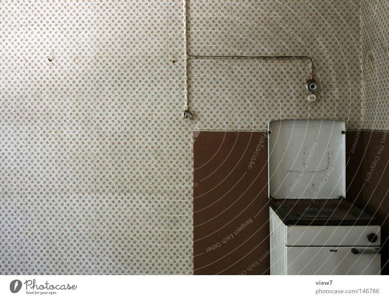 Herd Einsamkeit Zeit Tür gehen Glas Wohnung dreckig Ordnung kaputt Bodenbelag Ecke Kochen & Garen & Backen Küche verfallen Umzug (Wohnungswechsel) Tapete
