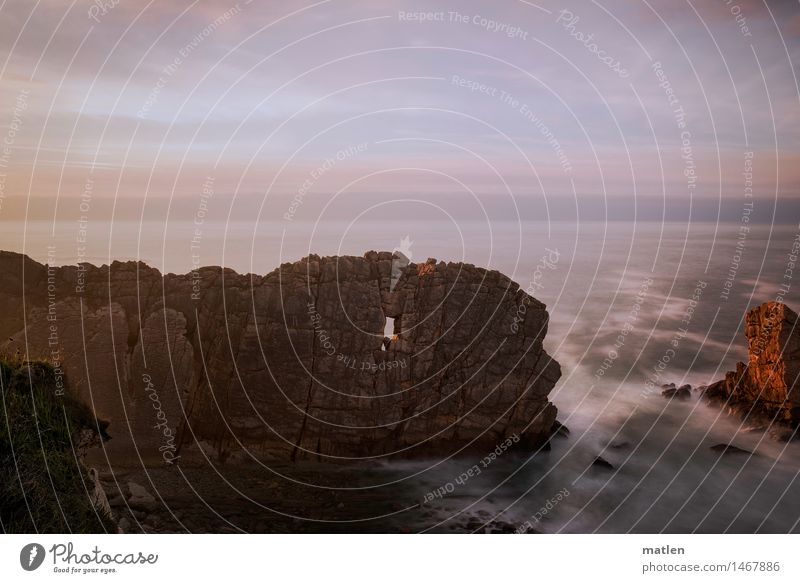Wellenbrecher Natur Landschaft Wasser Himmel Horizont Sonnenaufgang Sonnenuntergang Wetter Schönes Wetter Felsen Küste Bucht Riff Meer Menschenleer ästhetisch