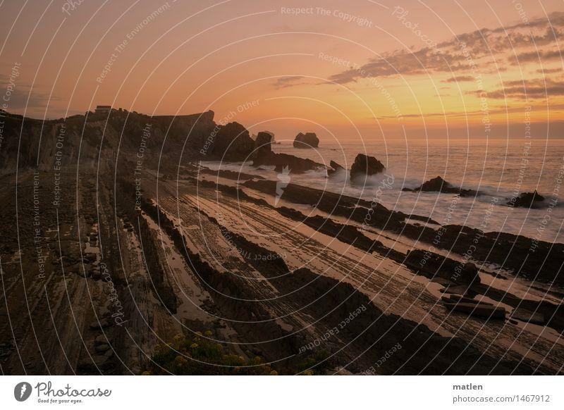 wenn es Nacht wird Natur Landschaft Wasser Himmel Wolken Horizont Sonnenaufgang Sonnenuntergang Sonnenlicht Wetter Schönes Wetter Felsen Schlucht Wellen Küste
