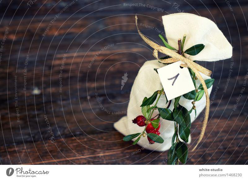 Erster Dekoration & Verzierung Glück 1 Adventskalender Sack erste Weihnachten & Advent Zweig Zweige u. Äste gold Reihe Bescherung Vorfreude Farbfoto