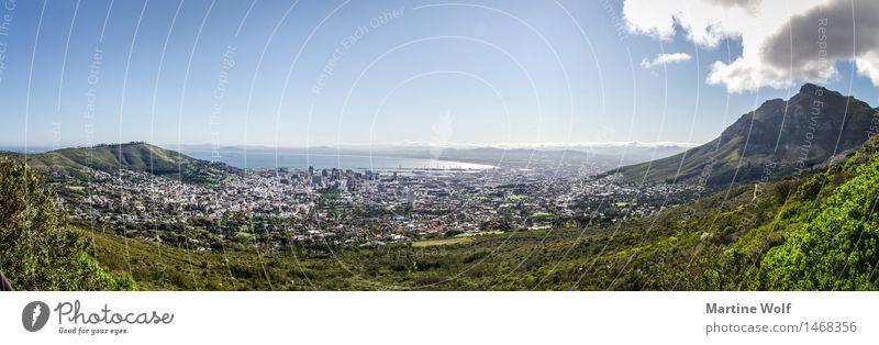 Kapstadt Panorama Landschaft Stadt Hafenstadt Stadtzentrum Ferien & Urlaub & Reisen Ferne Afrika Provinz Westcap Südafrika Tafelberg Horizont Himmel Farbfoto