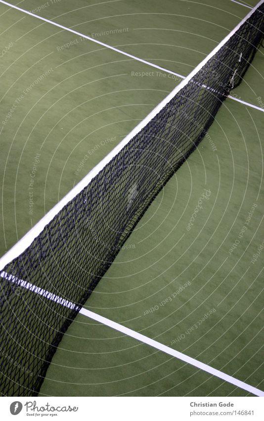 Diagonalen weiß grün Winter Sport Spielen springen Linie Freizeit & Hobby Geschwindigkeit Erfolg Ball Netz diagonal Halle Tennis Teppich