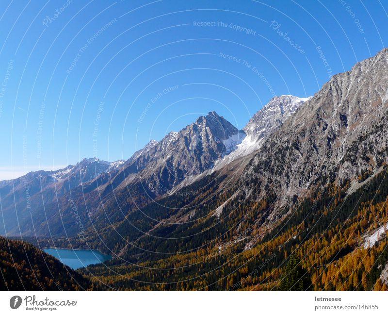 Alto Adige Autunno Herbst mehrfarbig frisch Jahreszeiten Italien Alpen alpin Südtirol Antholzer See Antholzer Tal Lärche gelb Oktober Berge u. Gebirge Schnee