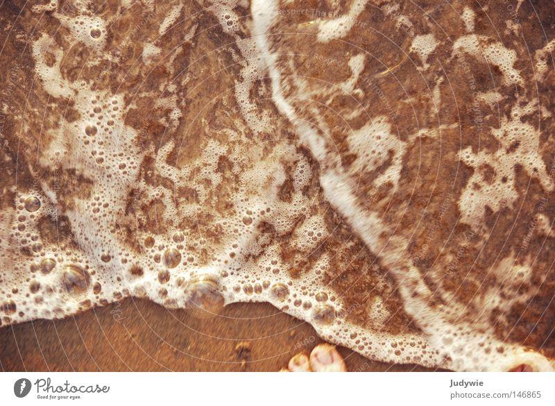 Nur mit den Füßen ... Meer Fuß Zehen Wasser Ferien & Urlaub & Reisen Luftblase Blase Schaum nass Barfuß Wellen Strand Sand Freude Türkei Küste Erde