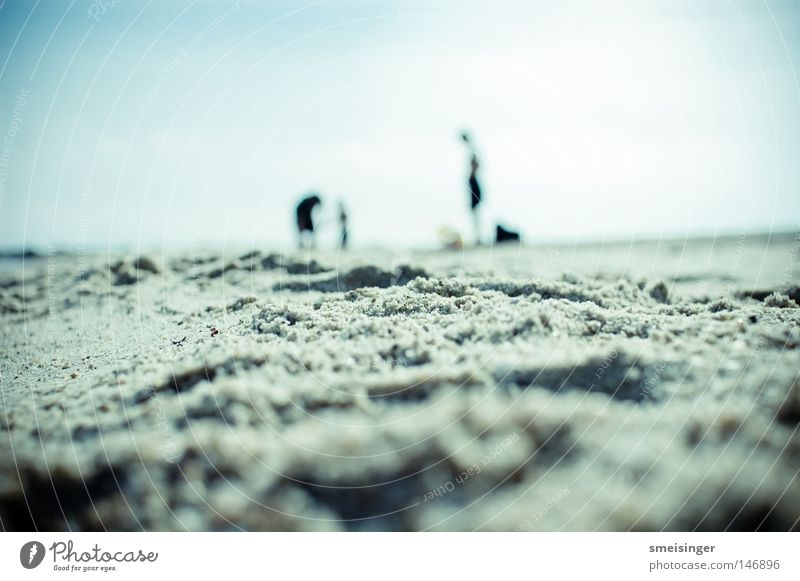 Strand Makro Ferien & Urlaub & Reisen Sommer Sommerurlaub Sonne Meer Mensch Paar Partner Kindheit 3 Menschengruppe Sand Himmel Horizont Schönes Wetter Küste