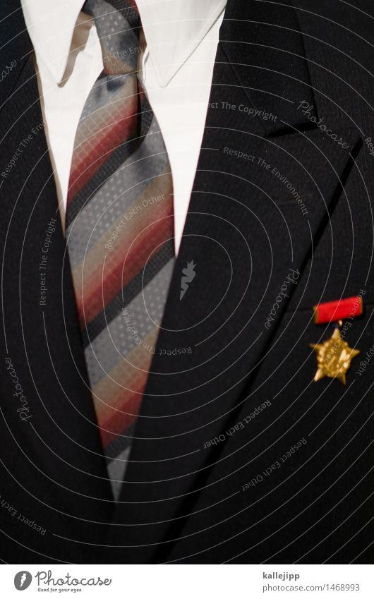 erich Wirtschaft Kapitalwirtschaft Business Mensch maskulin Mann Erwachsene 1 glänzend Medaille Krawatte Anzug retro Politik & Staat DDR Hemd Farbfoto