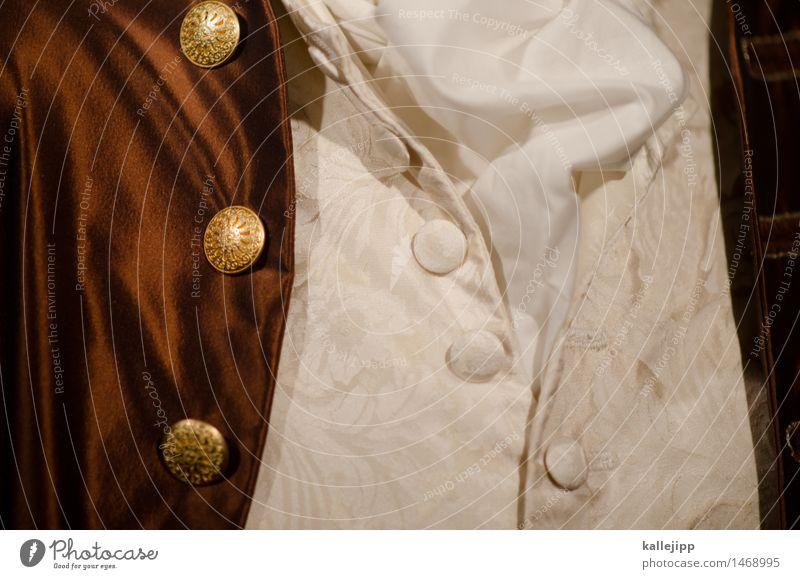 johann Mode Bekleidung Hemd Jacke Stoff Accessoire Schal braun gold weiß Seide Barock Muster altmodisch Farbfoto Detailaufnahme