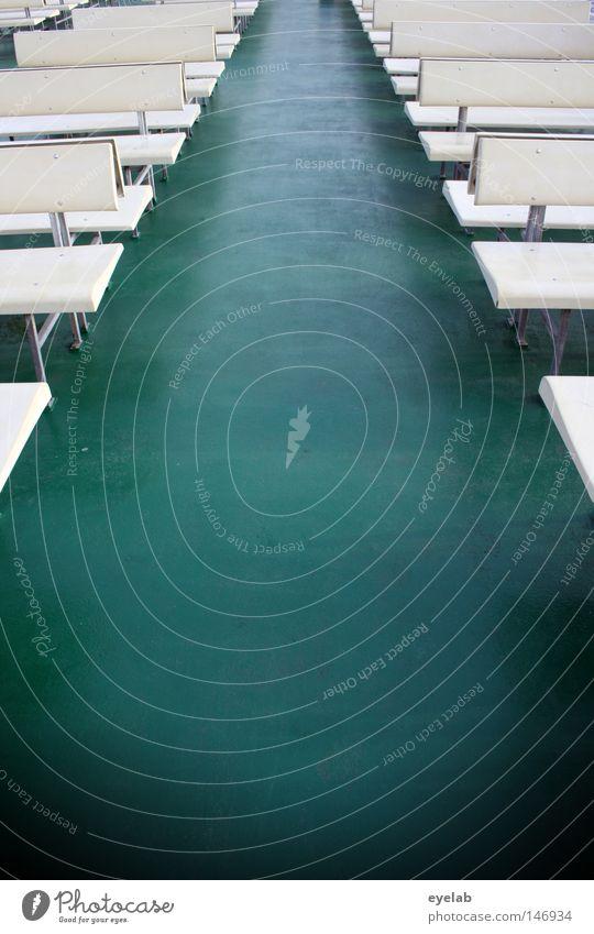Freie Platzwahl Bank grün beige leer Sitzgelegenheit Fähre Wasserfahrzeug Oberdeck Achterschiff Meer See Ferien & Urlaub & Reisen Verkehr Verkehrsmittel