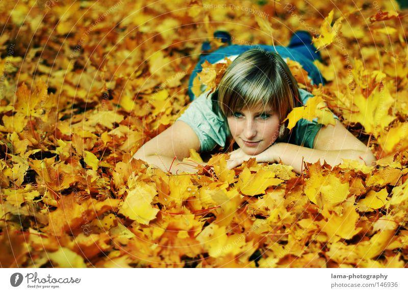 Herbstträume Frau Jugendliche schön Baum Sommer Freude Blatt Einsamkeit Erholung Herbst Freiheit Lampe träumen Stimmung gold liegen