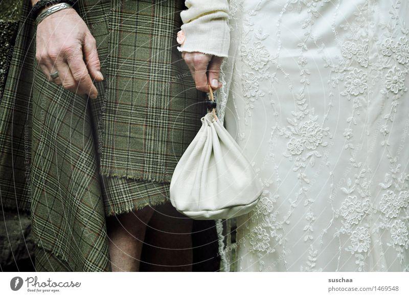 hochzeit Braut Bräutigam Hochzeit Ehe Ehemann Ehefrau Brautkleid Kilt Mittelalter Hand Tasche