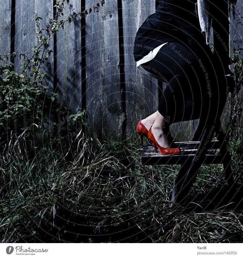 dark red Photo-Shooting Scheune Holz Holzbrett Wand dunkel Schuhe Damenschuhe Frau kalt rot Gras Wiese Blatt Sträucher grün Anschnitt Vergänglichkeit Stuhl
