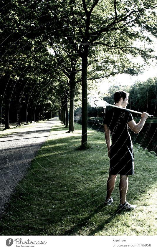 lacrosse Mann Natur Baum Sommer Park Junger Mann Allee Sportler Ballsport