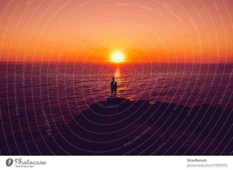 Sonnenaufgang Mensch Natur Ferien & Urlaub & Reisen Jugendliche schön Sommer Meer Junger Mann Freude Berge u. Gebirge Umwelt natürlich Küste Lifestyle Freiheit