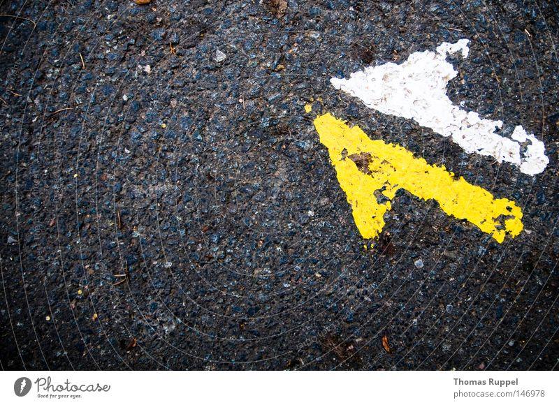Da lang weiß gelb Ferne Straße Farbe kalt Herbst oben grau Stein Wege & Pfade frei Sicherheit trist Asphalt Vertrauen
