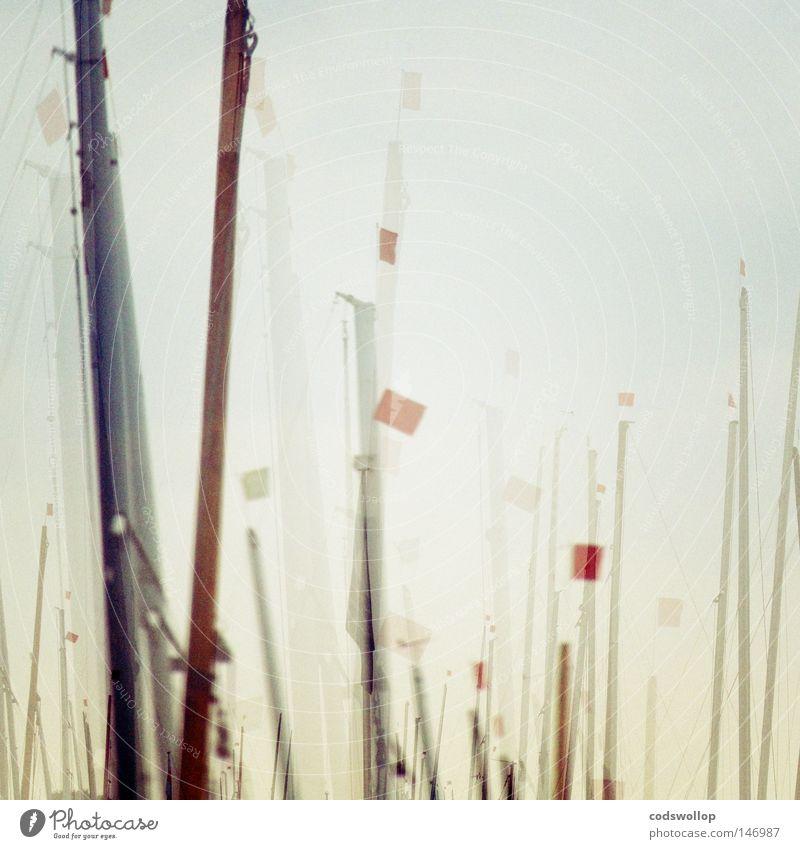 plain sailing Mast Segelboot Marine Segeln Regatta Segelschiff maritim Fahne Wassersport Schifffahrt flags Doppelbelichtung einmaster dogger
