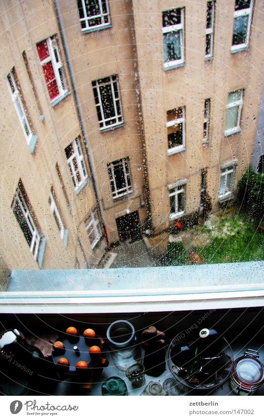 Es geht aufwärts Haus Leben Berlin Herbst Fenster Traurigkeit Gebäude Regen Glas Fassade Trauer Häusliches Leben beobachten Kontrolle Fensterscheibe Scheibe