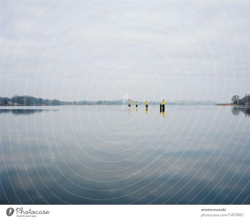 Seenglanz Natur Wasser Herbst Horizont Zufriedenheit Schönes Wetter Sehnsucht Fernweh stagnierend Fischerdorf