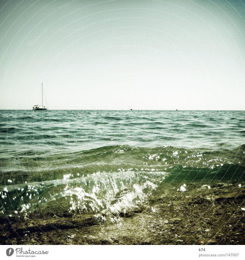 barrel See Meer Wellen Brandung Klarheit deutlich Reflexion & Spiegelung Licht glänzend Wasserfahrzeug Segelschiff Horizont liquide Ferien & Urlaub & Reisen