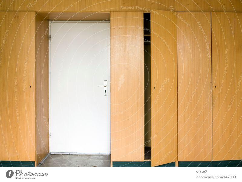 Einbautür Schrank Einbauschrank Tür Fächer Wohnzimmer Büro Holz Tapete Strukturen & Formen Ordnung Muster Tisch Möbel Flüssigkeit Osten Zone DDR gehen