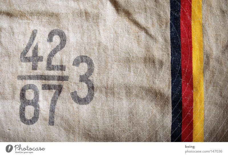 1,4482758620689655172413793103448 Sack Jutesack Kapitalwirtschaft Deutschland Deutsche Flagge Bundesadler Bargeld Schwarzgeld Handel Wirtschaft Vertrauen