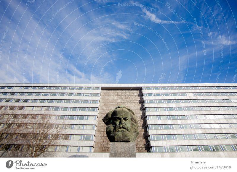 Charly Marx Stadt Stadtzentrum Hochhaus Bauwerk Gebäude Sehenswürdigkeit Wahrzeichen Denkmal alt trashig Nostalgie Verfall Vergänglichkeit Karl Marx Chemnitz