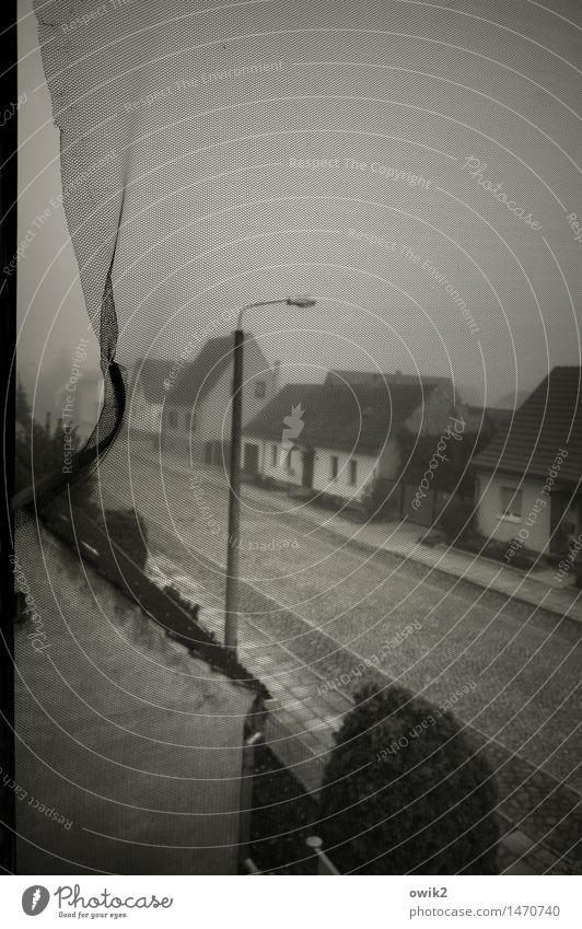 Preußen im Nebel ruhig Haus Fenster Straße Wand Traurigkeit Mauer Deutschland Fassade trist Schutz Straßenbeleuchtung dünn Dorf Kopfsteinpflaster