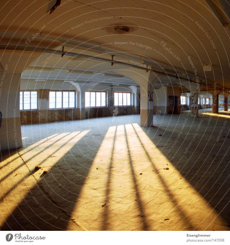 Gekrümmter Raum Fenster ästhetisch außergewöhnlich gelb Säule Quadrat leer Leerstand verfallen Lagerhalle Abend Licht Schatten Menschenleer Sonnenlicht