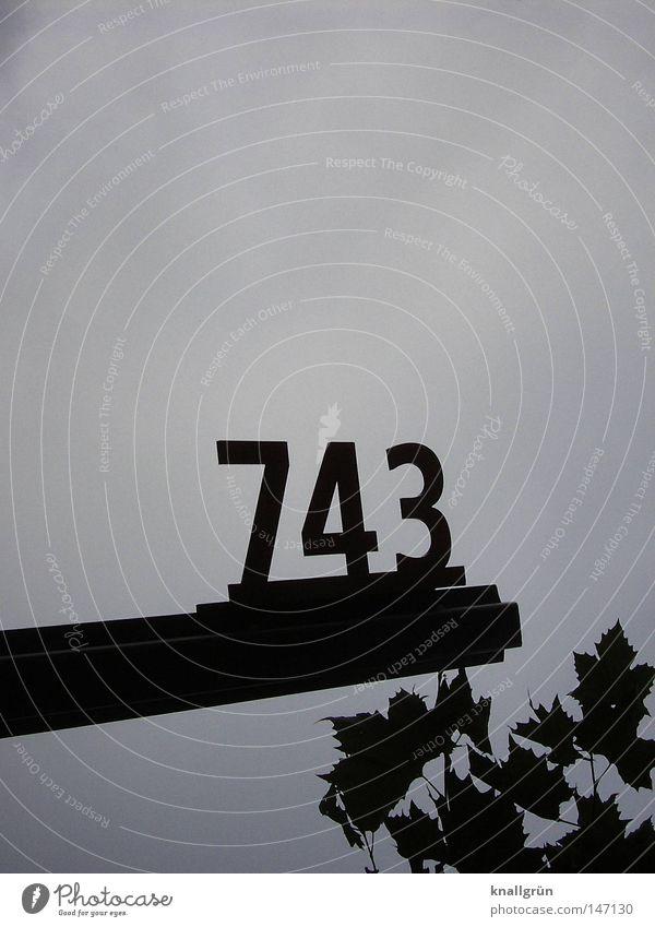 743 Ziffern & Zahlen Metall schwarz blau blau-grau Himmel Blatt Schilder & Markierungen Detailaufnahme obskur
