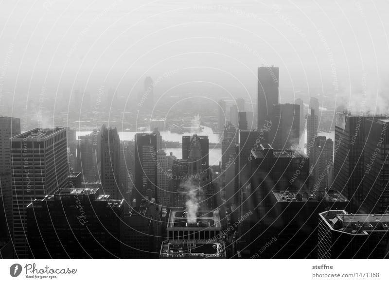 morgens I Stadt Herbst Nebel Hochhaus Skyline Rauch Heizung Manhattan New York City überbevölkert