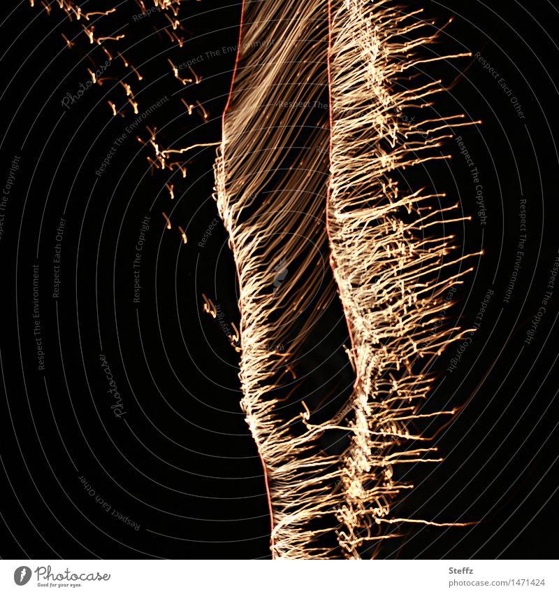 Funkenflügel Freude schwarz Glück Feste & Feiern Party glänzend gold Flügel Feuer Veranstaltung Silvester u. Neujahr Feuerwerk Festspiele Nachtleben festlich