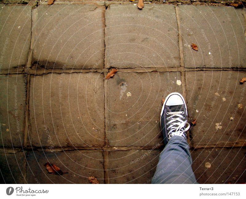 Einbeinig Straße Asphalt grau Herbst Wandel & Veränderung Blatt Baum rot braun gelb orange Bodenbelag Chucks Schuhe Jugendliche Beine Hose Fliesen u. Kacheln