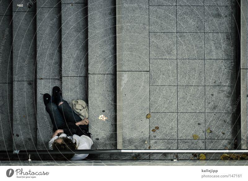 randgruppe Spende Mann Mensch Obdachlose Leben dramatisch Dramatik Schulden Gesellschaft (Soziologie) Seele egoistisch Ego Treppe U-Bahn betteln Bettler