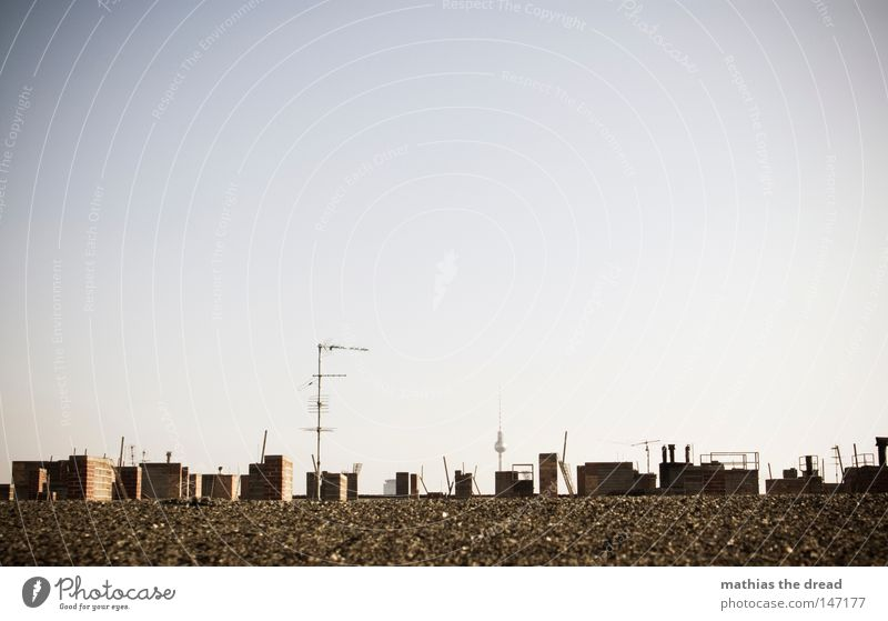SKYLINE Himmel Farbe blau gelb Stadt Haus Gebäude Dach Schornstein Antenne Berliner Fernsehturm Hauptstadt Mitte Berlin-Mitte Wahrzeichen Kunst Turm hoch Erfolg