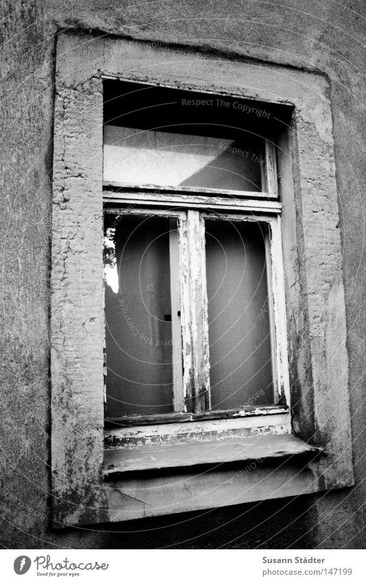 Fenster zum Hof schwarz weiß Schwarzweißfoto alt old-school DDR Sanieren Renovieren Modernisierung konventionell Tür Haus verfallen Einsamkeit unsaniert