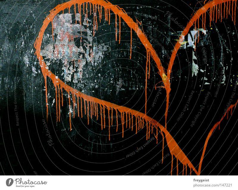 Neon Love Liebe Farbe Wand Graffiti orange Herz Neonlicht Wandmalereien Geständnis