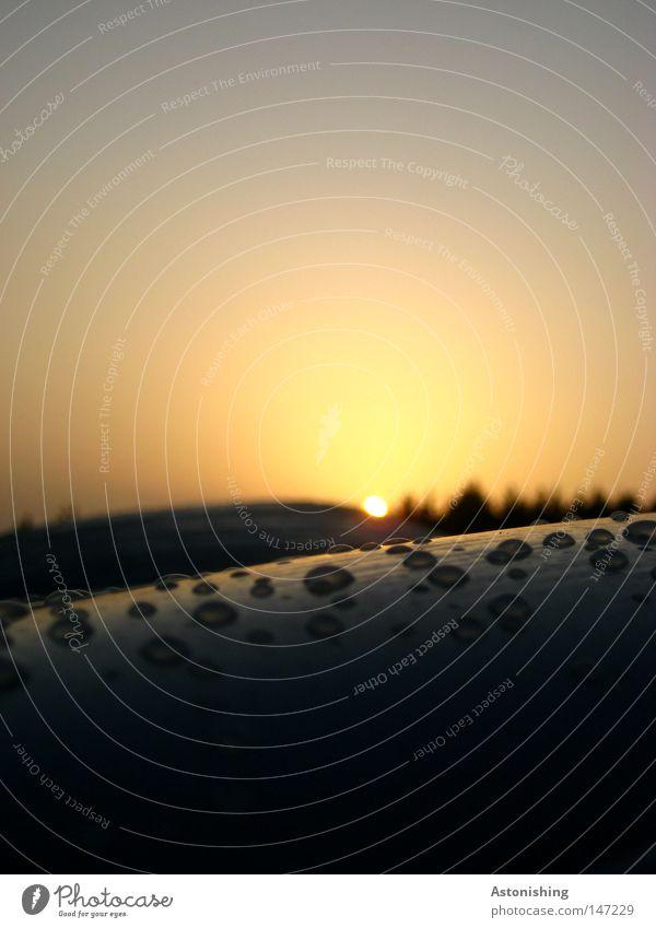 das letzte Tröpfchen Sonne Wasser Wassertropfen Himmel Herbst Baum Kunststoff Tropfen dunkel hell gelb Sonnenuntergang Landschaftsformen Strohballen Heuballen