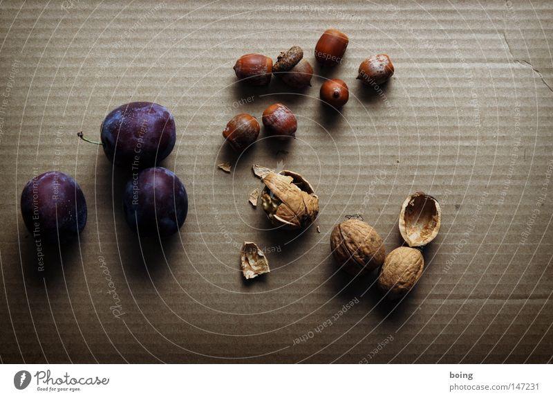 Pflaume, Haselnuss und Walnuss Ernährung Herbst Garten Frucht Ernte Backwaren Schalen & Schüsseln Gartenbau Nuss verpackt einpacken senden Nussschale