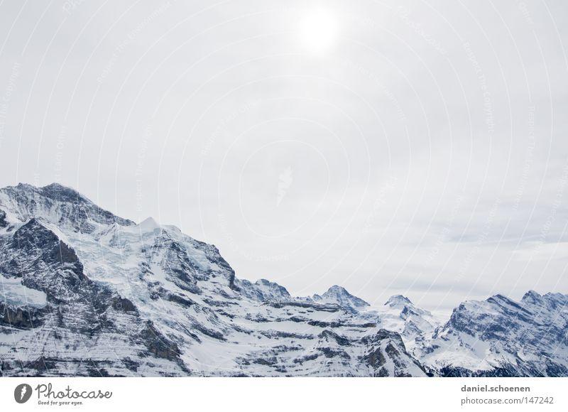 bald wird`s kalt (Teil 1) Himmel weiß Sonne Winter Berge u. Gebirge Schnee Hintergrundbild hell Wetter Eis groß Gipfel Alpen Klettern Schweiz Alpen