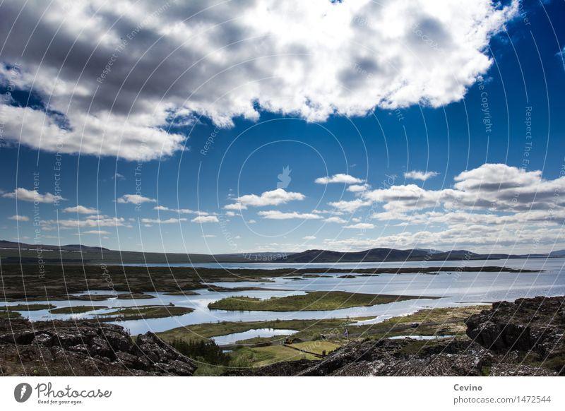 Isländische Schönheit Natur Landschaft Urelemente Luft Wasser Himmel Wolken Horizont Schönes Wetter Hügel Bucht Fjord Insel Island genießen
