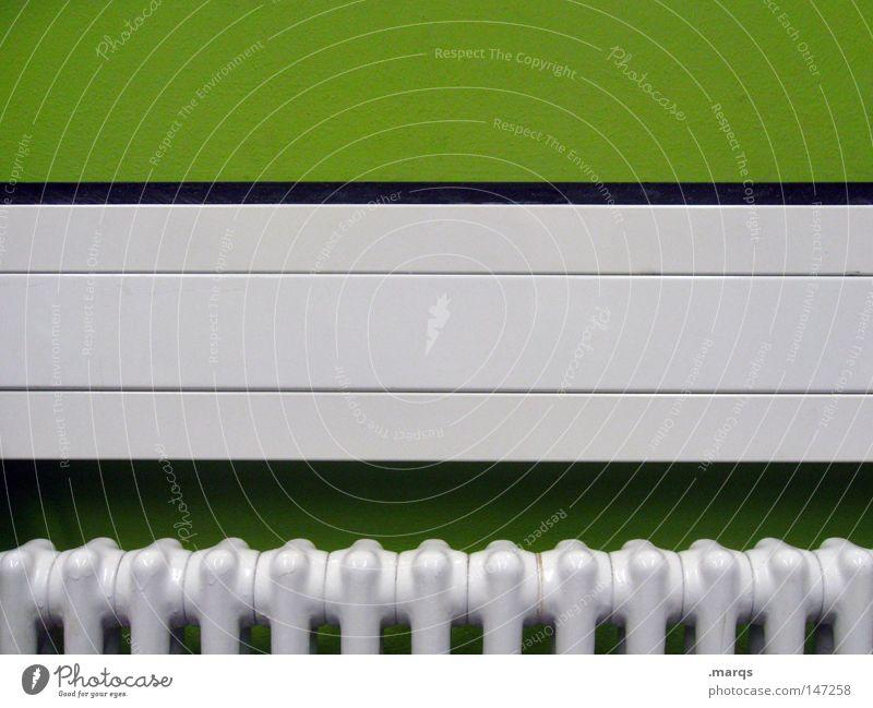 Radiator grün Wand Wärme Linie Technik & Technologie Häusliches Leben heiß Geometrie Heizkörper sehr wenige heizen reduzieren Blende Elektrisches Gerät