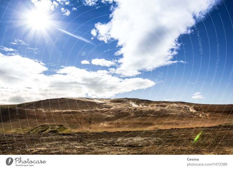Lavafeld Natur Landschaft Erde Luft Horizont Sonne Sonnenlicht Klima Wetter Schönes Wetter Vulkan Island Europa außergewöhnlich bedrohlich heiß blau gold