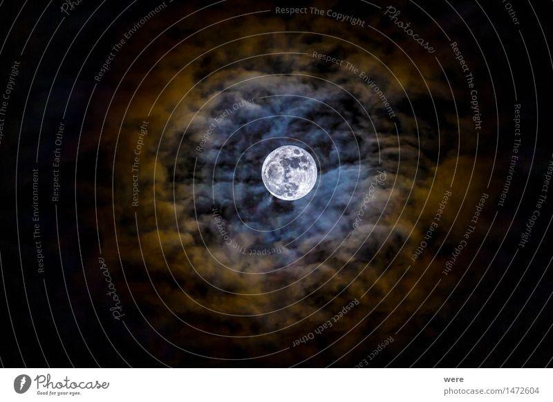 Mondkorona Wolken Nachthimmel Vollmond leuchten fantastisch gigantisch Ereignisse Himmel Naturphänomene Naturwunder Sensation Sternbild Astronomie Wunder