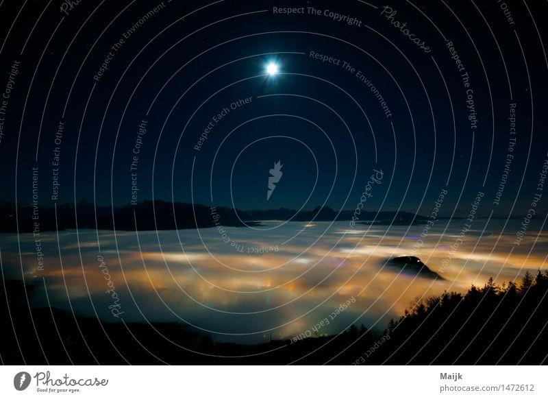 Foggy View west Natur Landschaft Erde Luft Himmel Wolkenloser Himmel Nachthimmel Stern Mond Vollmond Winter Wetter Nebel Berge u. Gebirge voralpenland