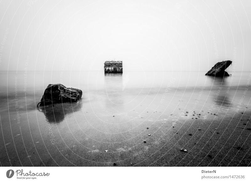 Bunker Landschaft Sand Herbst Küste Strand Ostsee Meer grau schwarz weiß Darß Betonplatte Horizont Himmel Wustrow Mecklenburg-Vorpommern Wasser Schwarzweißfoto