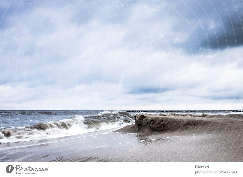 Umspült Strand Meer Wellen Landschaft Sand Wasser Wolken Horizont Wetter Wind Sturm Küste Ostsee blau braun weiß Gischt Kühlungsborn Mecklenburg-Vorpommern
