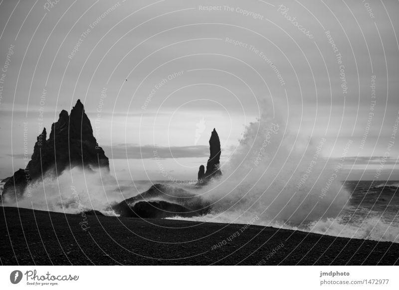 Brandung in Vik - Island Natur Ferien & Urlaub & Reisen Wasser Meer Landschaft Ferne Strand Umwelt natürlich Küste Freiheit Sand Wellen Ausflug Wind nass