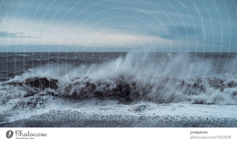 Brandungswellen in Vik - Island Ferien & Urlaub & Reisen Abenteuer Ferne Expedition Strand Meer Wellen Umwelt Natur Landschaft Urelemente Sand Wasser Wind Küste